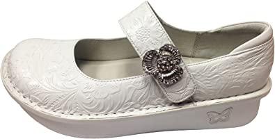 Amazon.com | Alegria Women's Paloma Exclusive Professional Shoe (40 Wide/ 10-10.5 Wide, White Tooled) | Flats