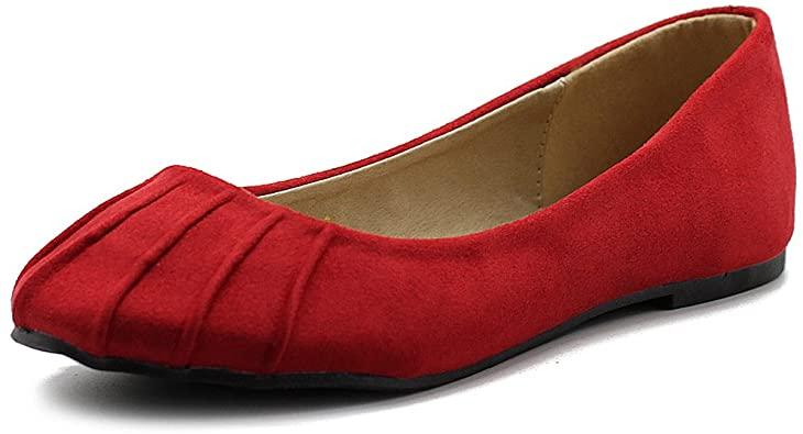 Amazon.com | Ollio Women's Ballet Shoe Comfort Faux Suede Flat | Flats