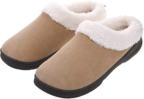 Amazon.com | Men's Slippers House Shoes Fuzzy Fluffy Clog Slip On Memory Foam Indoor Outdoor Size 11-12 Tan | Slippers