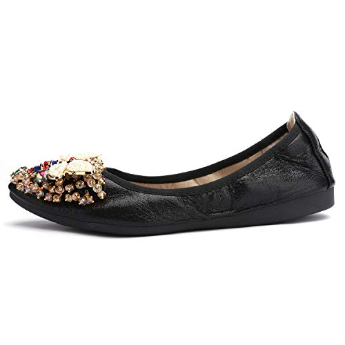 Stylein Womens Foldable Rhinestone Flats Ballet Bling Slip On Loafers Black | Pricepulse