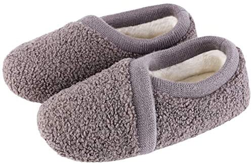 Women's Elastic Fleece House Shoes Comfy Fuzzy Slippers with Memory Foam Insole (Large / 9-10 B(M) US, Gray): Buy Online at Best Price in UAE - Amazon.ae
