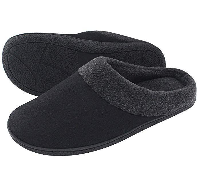 HomeIdeas Men's Woolen Fabric Memory Foam Anti-Slip House Slippers- Black/Large- US 11-12/ UK 10-11 | Mens slippers, Slippers, Best mens house slippers