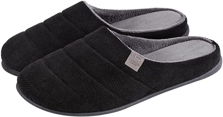 LongBay Men's Memory Foam Slippers Wool Felt Removable Insole Durable Injection Mule Comfy Indoor Outdoor House Shoes: Amazon.co.uk: Shoes & Bags