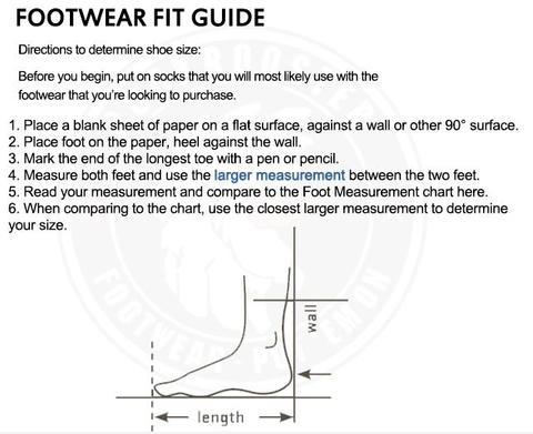 Boots Size Chart– Rock Rooster Footwear Inc